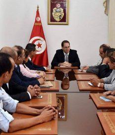 لقاء المكتب التنفيذي للنقابة برئيس الحكومة يوسف الشاهد